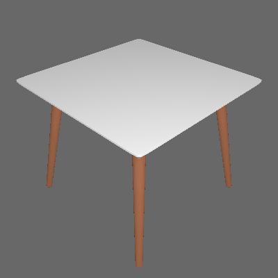 Mesa de Jantar Quadrada Fernanda Branca e Natural 90 cm - Artesano