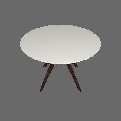 Mesa de Jantar Redonda Spacy Off White e Café 120 cm - Brigatto