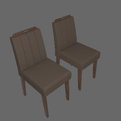 Conjunto com 2 Cadeiras Elisa Suede Savana e Pluma