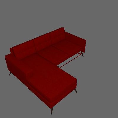 Sofá 2 Lugares Living Pé Palito com Chaise Suede Vermelho
