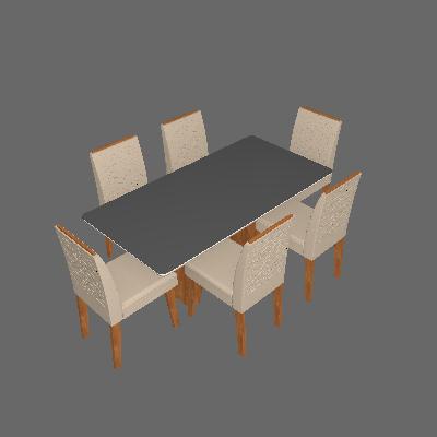 Conjunto de Mesa de Jantar Retangular com Tampo de  Vidro e 6 Cadeiras Estofadas Clara Suede Nude e Off White - Cimol