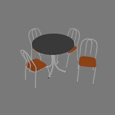 Conjunto de Mesa com 4 Cadeiras Leila Branco e laranja - Criativa