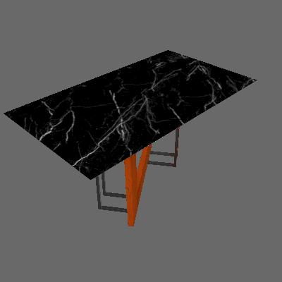 Mesa de Jantar Retangular com Tampo de Vidro Munique Ipê e Nero 160 cm - New Ceval