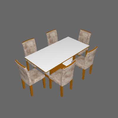 Conjunto de Mesa de Jantar com Vidro e 6 Cadeiras Maia I Suede Animalle Imbuia e Chocolate - Rufato