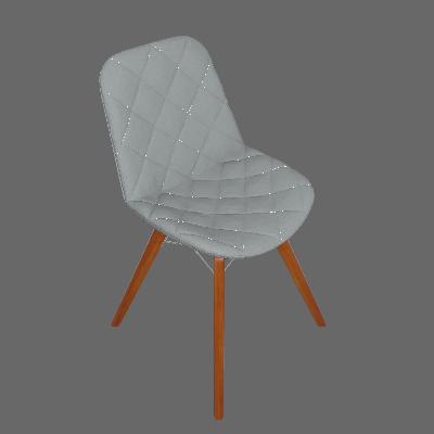 Cadeira de Jantar Lean Estofada com Pé Palito Cru
