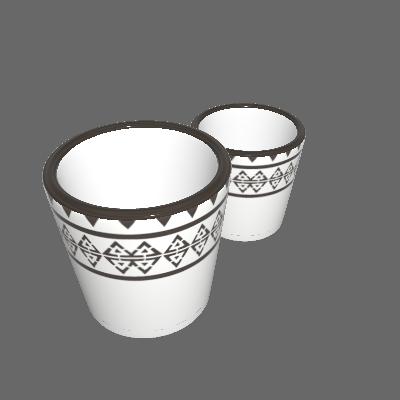 Kit 2 Vasos Cerâmica Folk Mufete Pequeno Bege (89874925)