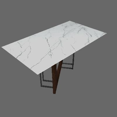 Mesa de Jantar Retangular com Tampo de Vidro Munique Castanho e Carrara 160 cm - New Ceval