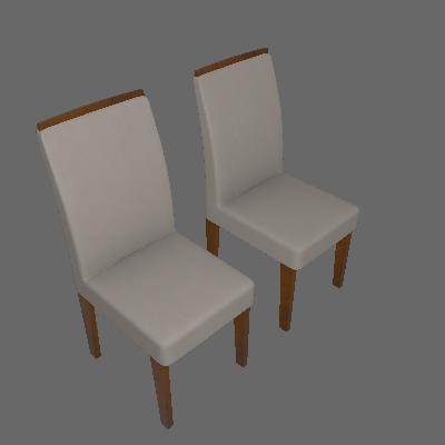Conjunto de 2 Cadeiras Lunara Imbuia Veludo Creme