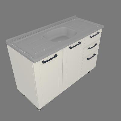 Gabinete 03 Portas 02 Gavetas com Pia (GM120-3P-2G-PIA)