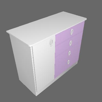 Cômoda Flex Color Inocência 4 GV 1 PT Lilás e Branco - BATROL