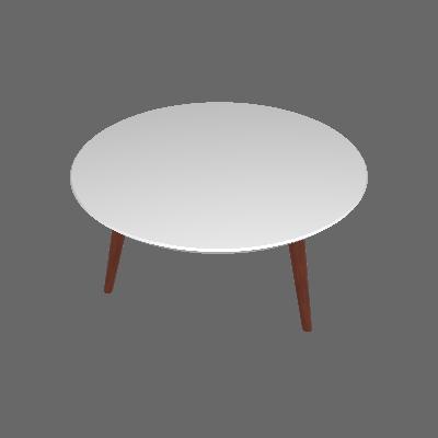 Mesa de Centro Redonda Luana Branca e Marrom Escuro - Artesano