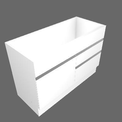Balcão sem Tampo Veneza Branco e Branco 120 cm
