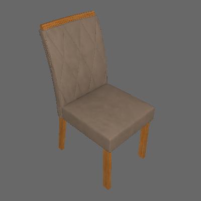 Conjunto com 2 Cadeiras Esmeralda Imbuia Mel e Veludo Camurça - Leifer