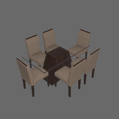 Conjunto de Mesa 1.7 com 6 Cadeiras Sevilha com Vidro Preto Malbec e Marrom