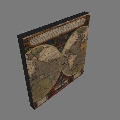 Quadro Mapa Mundi Uniart Marrom 30x30cm - Uniart