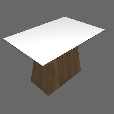 Mesa de Jantar Retangular Pampulha Serigrafado Canela e Branco 120cm - Leifer
