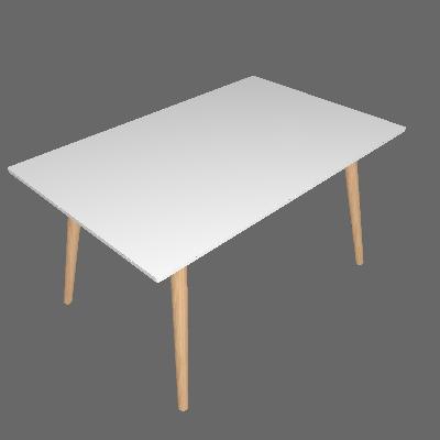 Mesa de Jantar Retangular Yasmin Off White e Natural 140 cm - Artesano