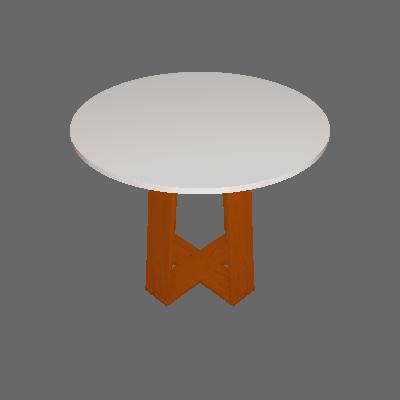 Mesa de Jantar Redonda com Tampo de Vidro Isabela Ipê e Off White 100 cm - New Ceval