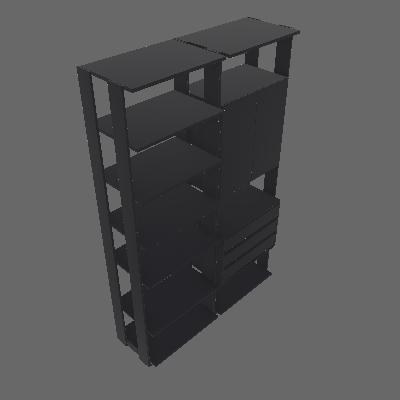 Guarda-Roupa Solteiro Modulado Clothes II 2 PT 3 GV Espresso - BE Mobiliário Inteligente