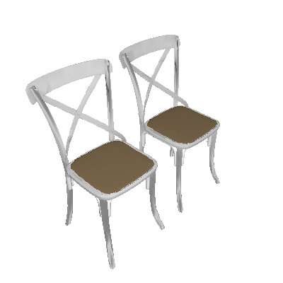 Conjunto 2 Cadeiras Katrina X Branco e Bege New Green - Mobly