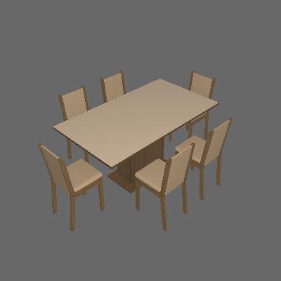 Conjunto de Mesa com 6 Cadeiras de Jantar Anis Linho Rústico Pérola - Madesa