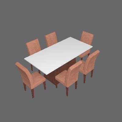 Conjunto de Mesa de Jantar Luna com 6 Cadeiras Estofadas Grécia II Animalle Off White e Chocolate - Rufato