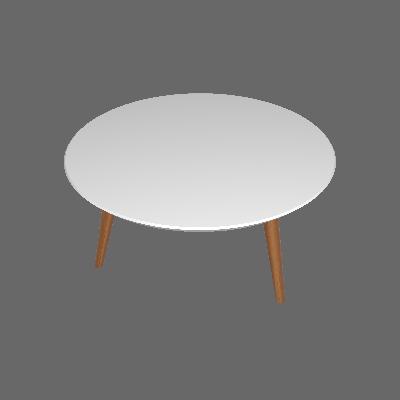 Mesa de Centro Redonda Luana Branca e Marrom Médio - Artesano