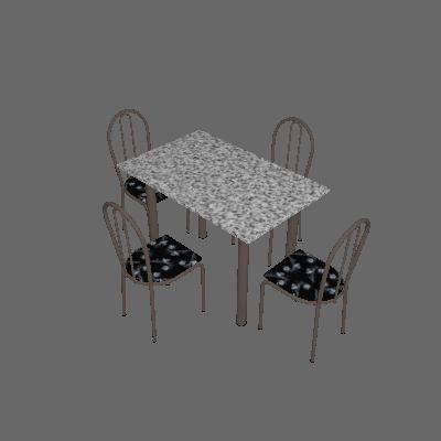 Conjunto de Mesa com 4 Cadeiras Sara Craqueado Preto e Preto Flor - Artefamol