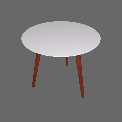 Mesa de Jantar Redonda Bruna Branca e Marrom Escuro 90 cm - Artesano