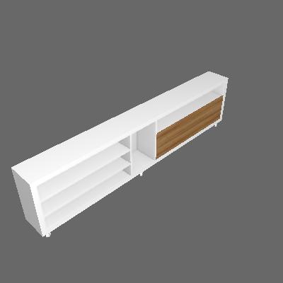 Rack Atenas Branco Fosco e Carvalho Évora 240 cm - KNR Móveis