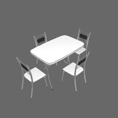 Conjunto de Mesa com 4 Cadeiras Katia Prata e branco - Criativa