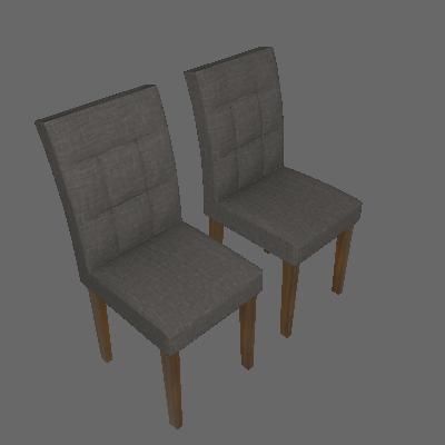 Conjunto com 2 Cadeiras de Jantar Itália Linho Canela Linho Cinza - Leifer
