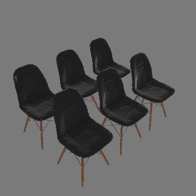 Conjunto de 6 Cadeiras Eiffel Preto - Rivatti