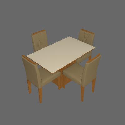Conjunto de Mesa de Jantar Retangular com Tampo de  Vidro e 4 Cadeiras Estofadas Ana Suede Nude e Off White - Cimol