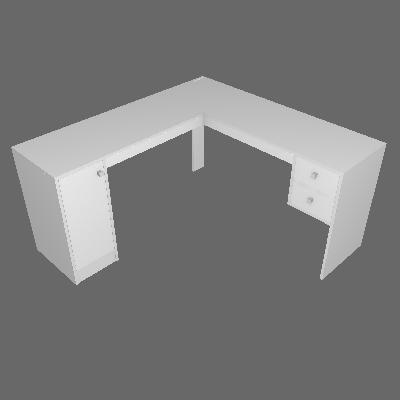 Mesa de Escritório em L Home Office 1 PT 2 GV Branca - Hecol