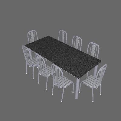 Conjunto de Mesa Córdoba com 8 Cadeiras Granada Branco Prata e Preto Listrado Grafite - Fabone