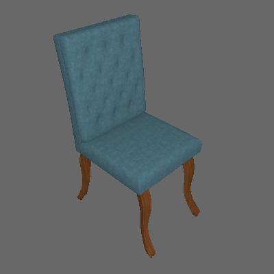 Cadeira Leonardo Da Vinci I Capitonê Linho Azul - Mobly