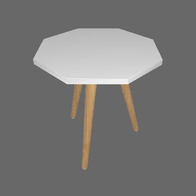Mesa Lateral Octogonal Argos Branca - Ornament