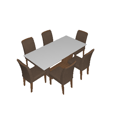 Conjunto de Mesa de Jantar Sofia com 6 Cadeiras Lunara Animalle Imbuia e Chocolate