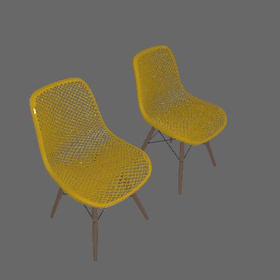 Conjunto com 2 Cadeiras Eames Premium Colméia Amarela
