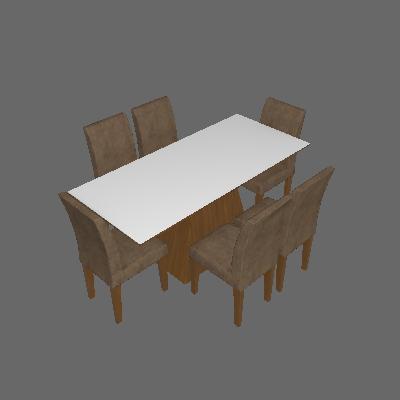 Conjunto de Mesa Luna I 180 cm com 6 Cadeiras Grecia Suede Amassado Imbuia e Chocolate - Rufato