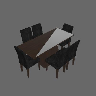 Conjunto de Mesa Luna II 180 cm com 6 Cadeiras Grecia Suede Castor e Preto - Rufato