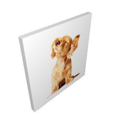 Quadro Cachorro com Fone Filhote Uniart Marrom 45x45cm - Uniart