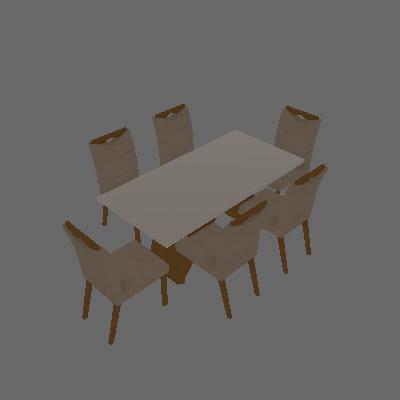 Conjunto de Mesa de Jantar I com 6 Cadeiras Verona Veludo Off White e Palha - Leifer