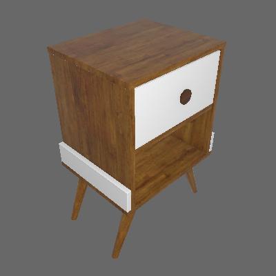 Mesa de Cabeceira Twister 1 GV Imbuia e Branca - Tcil