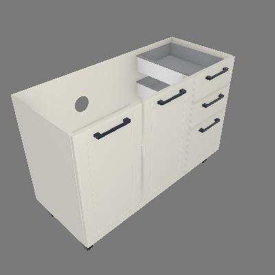 Gabinete 03 Portas 02 Gavetas sem Tampo (GM120-3P-2G-ST)
