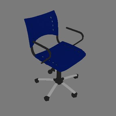 Cadeira de Escritório Secretária Giratória Evidence I Cromada e Azul - Absolut