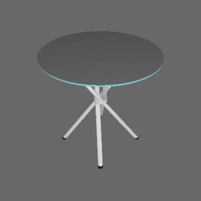 Mesa de Cozinha Redonda com Tampo de Vidro Messina Incolor e Cromado - Pozza