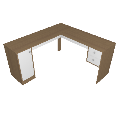 Mesa de Escritório em L Home Office 1 PT 2 GV Avelã e Branca - Hecol