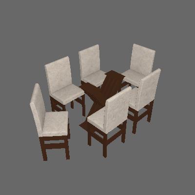 Conjunto de Mesa com 6 Cadeiras Lucca Suede Tabaco - Zamarchi